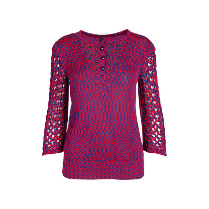 Authentic Second Hand Chanel Crochet Knit Sweater (PSS-575-00003)