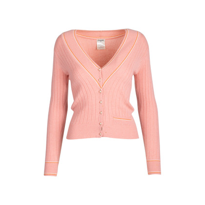 Authentic Second Hand Chanel Pearl Buttoned Cardigan (PSS-575-00014)