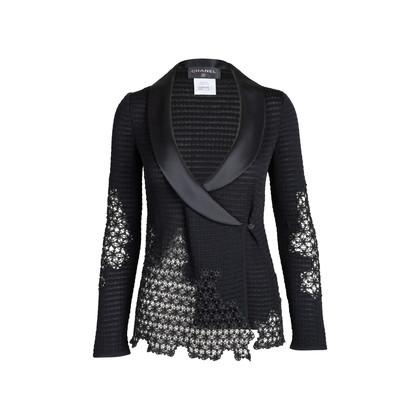 Authentic Second Hand Chanel Silk Collar Crochet Cardigan (PSS-575-00011)