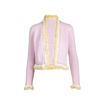 Authentic Pre Owned Chanel Pom Pom and Lace Cardigan (PSS-575-00015)