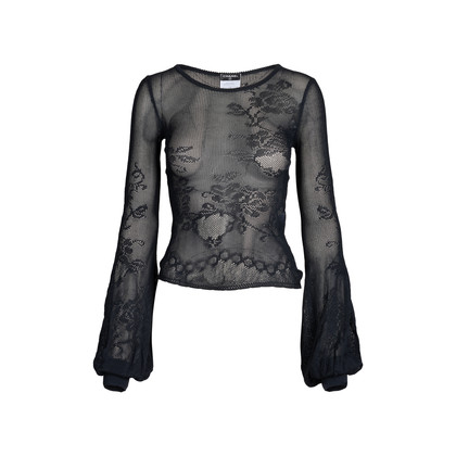 Authentic Pre Owned Chanel Balloon Sleeve Knit Top (PSS-575-00033)