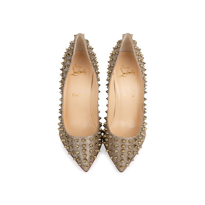 Authentic Second Hand Christian Louboutin Follies Spikes Glitter Pumps (PSS-566-00110)