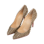Authentic Second Hand Christian Louboutin Follies Spikes Glitter Pumps (PSS-566-00110) - Thumbnail 2