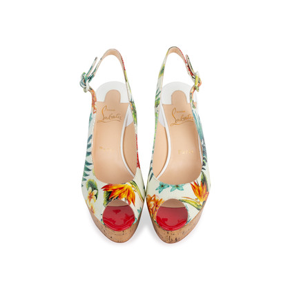Authentic Second Hand Christian Louboutin Une Plume Hawaii Slingback Sandals (PSS-566-00108)