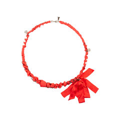 Chain Ribbon Pearl Necklace