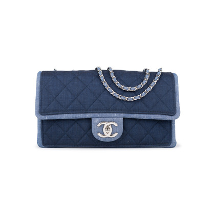 Authentic Pre Owned Chanel Denim Flap Bag with Chanel Charm (PSS-136-00047)