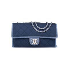 Denim Flap Bag with Chanel Charm