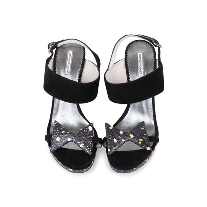 Authentic Second Hand Emporio Armani Suede Sandals With Bow (PSS-564-00001)