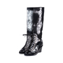 Authentic Second Hand Chanel Distressed Paint Suede High Boots (PSS-200-01553) - Thumbnail 3