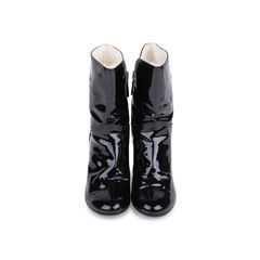 Patent Fur Lined Boots