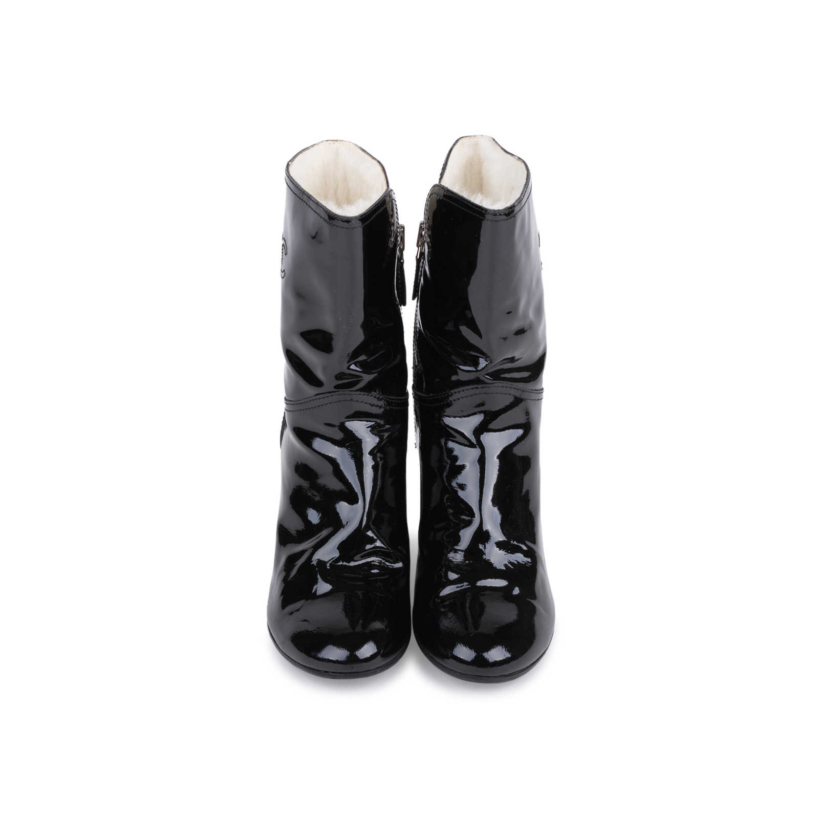 2cb761a79 Authentic Second Hand Chanel Patent Fur Lined Boots (PSS-200-01539) ...
