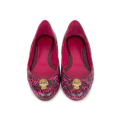Authentic Pre Owned Alexander McQueen Snakeskin Skull Flats (PSS-549-00003)