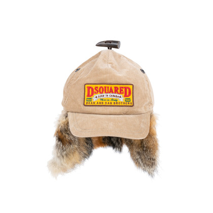 Authentic Pre Owned Dsquared2 Fox Fur and Corduroy Baseball Cap (PSS-200-01547)