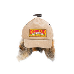 Fox Fur and Corduroy Baseball Cap