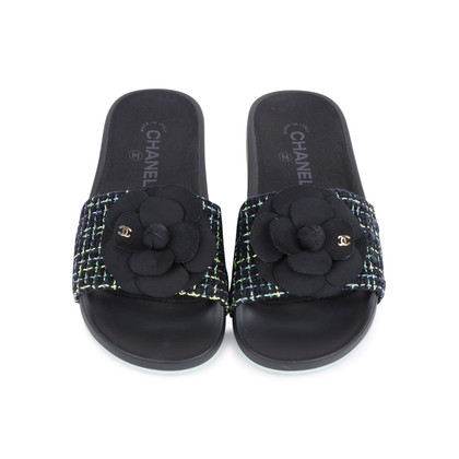 Authentic Second Hand Chanel Tweed Camellia Pool Slides (PSS-200-01555)