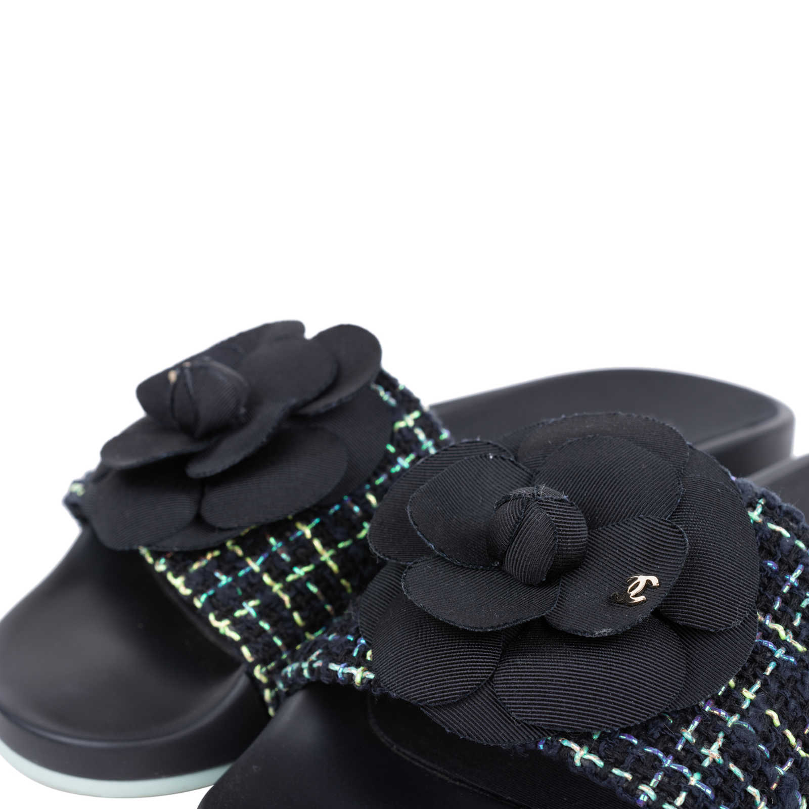 8352e948d ... Authentic Second Hand Chanel Tweed Camellia Pool Slides (PSS-200-01555)  ...
