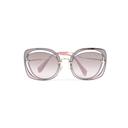 Authentic Pre Owned Miu Miu Brown/Pink Cut Out Square Sunglasses (PSS-200-01580)