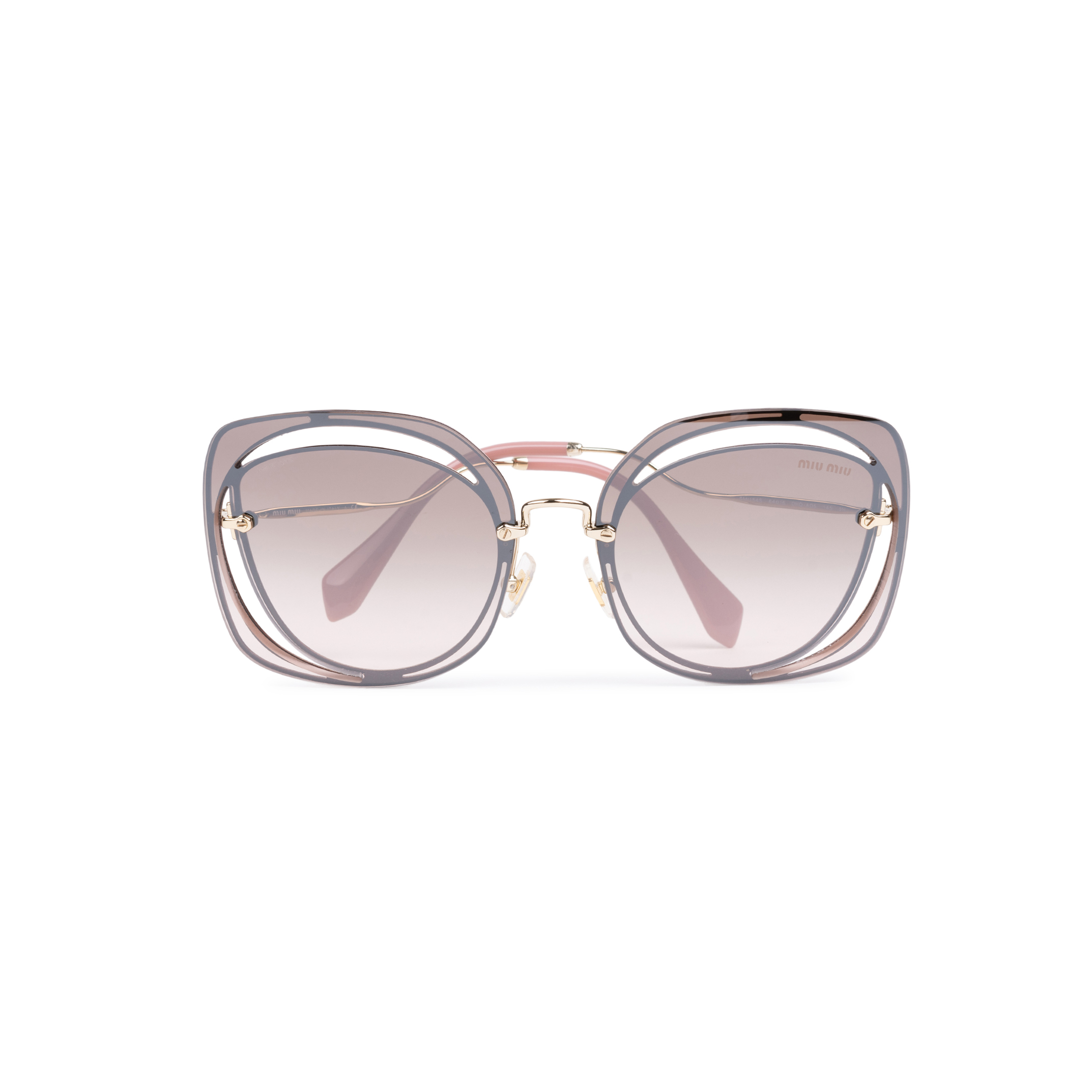dcbde3250f75 Authentic Second Hand Miu Miu Brown/Pink Cut Out Square Sunglasses  (PSS-200-01580) - THE FIFTH COLLECTION