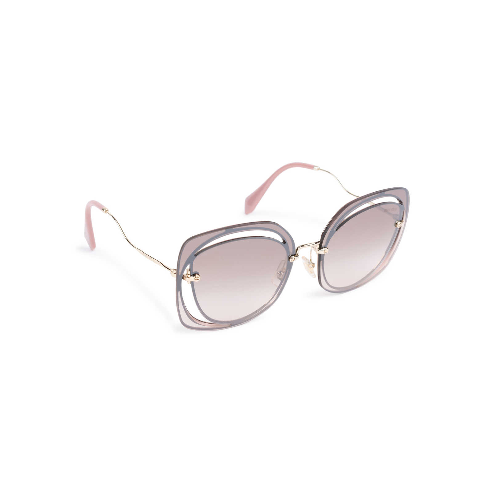 bbba00686d1 ... Authentic Second Hand Miu Miu Brown Pink Cut Out Square Sunglasses  (PSS-200 ...