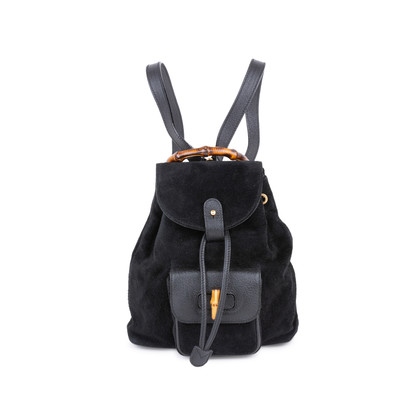Authentic Second Hand Gucci Suede Mini Bamboo Backpack (PSS-591-00008)