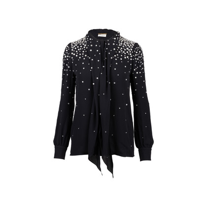 Authentic Second Hand Saint Laurent Embellished Pussybow Blouse (PSS-369-00061)