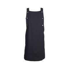 Black Buttoned Pinafore Dress
