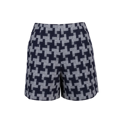 Authentic Second Hand Carven Houndstooth Wool Shorts (PSS-515-00157)