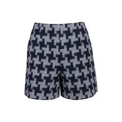 Houndstooth Wool Shorts