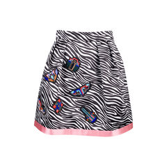 Memphis' Bead Embroidered Zebra Print Skirt