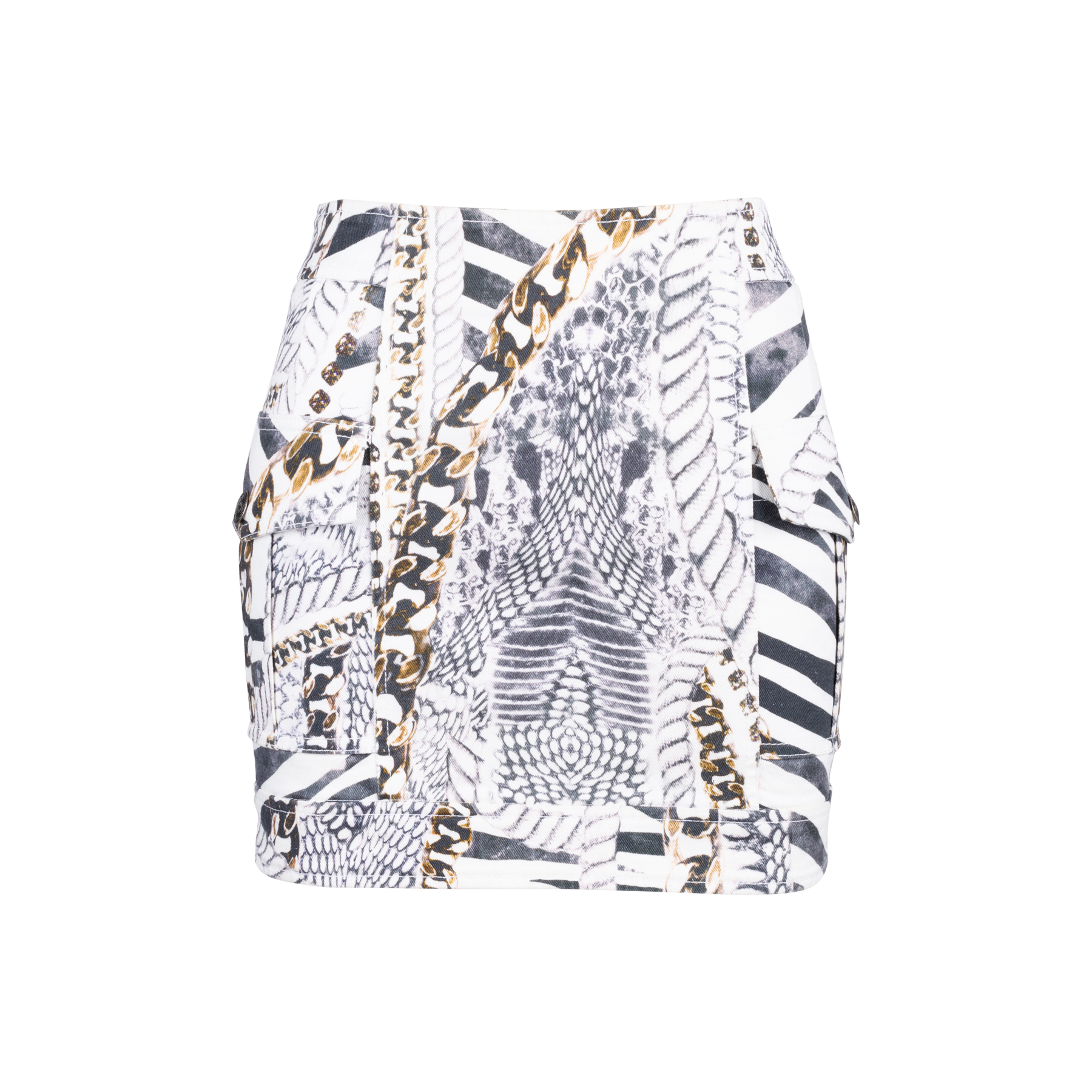 aa4f5727997a Authentic Second Hand Pierre Balmain Chainlink and Rope Print Denim Skirt  (PSS-515-00139)