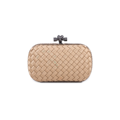 Authentic Pre Owned Bottega Veneta Knot Satin and Watersnake Clutch (PSS-588-00006)