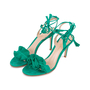 Authentic Second Hand Gianvito Rossi Ruffled Suede Lace-Up Sandals (PSS-588-00014) - Thumbnail 3
