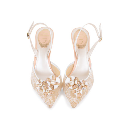 Authentic Pre Owned René Caovilla Embellished Lace Slingback Pumps (PSS-588-00016)