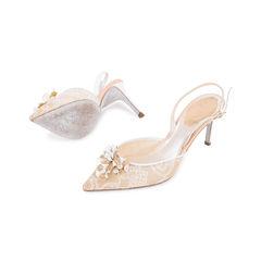 Rene caovilla embellished lace slingback pumps 2?1545029382