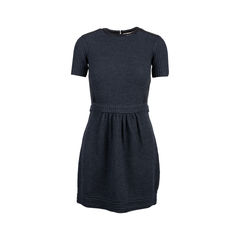 Leather Trim Knit Dress