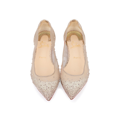 Authentic Pre Owned Christian Louboutin Follies Strass Mesh and Leather Flats (PSS-197-00109)