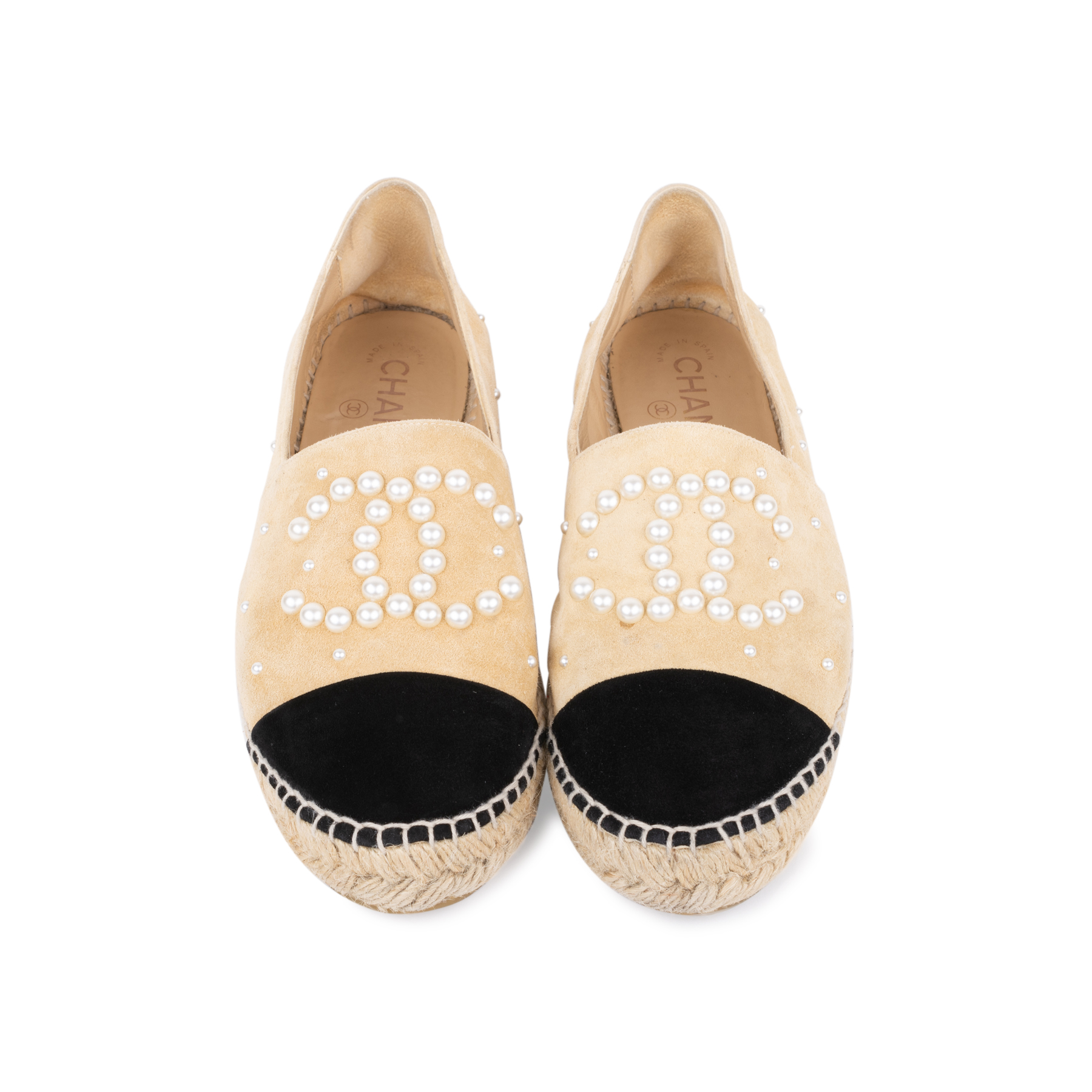 0b19aa111 Authentic Second Hand Chanel Pearl Embellished Suede Espadrilles  (PSS-197-00111) - THE FIFTH COLLECTION