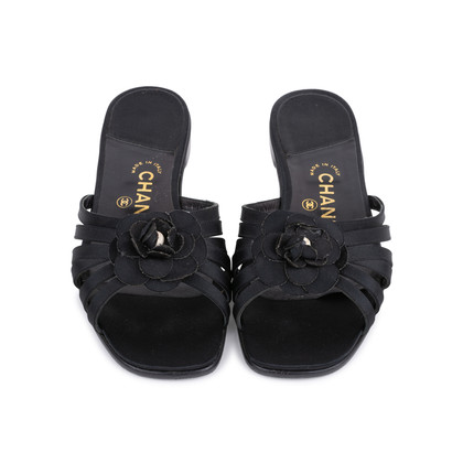 Authentic Second Hand Chanel Satin Camellia Slides (PSS-051-00418)