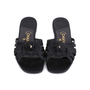Authentic Second Hand Chanel Satin Camellia Slides (PSS-051-00418) - Thumbnail 0