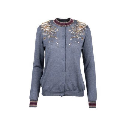 Authentic Second Hand Prada Embellished Wool Blend Cardigan (PSS-051-00446)