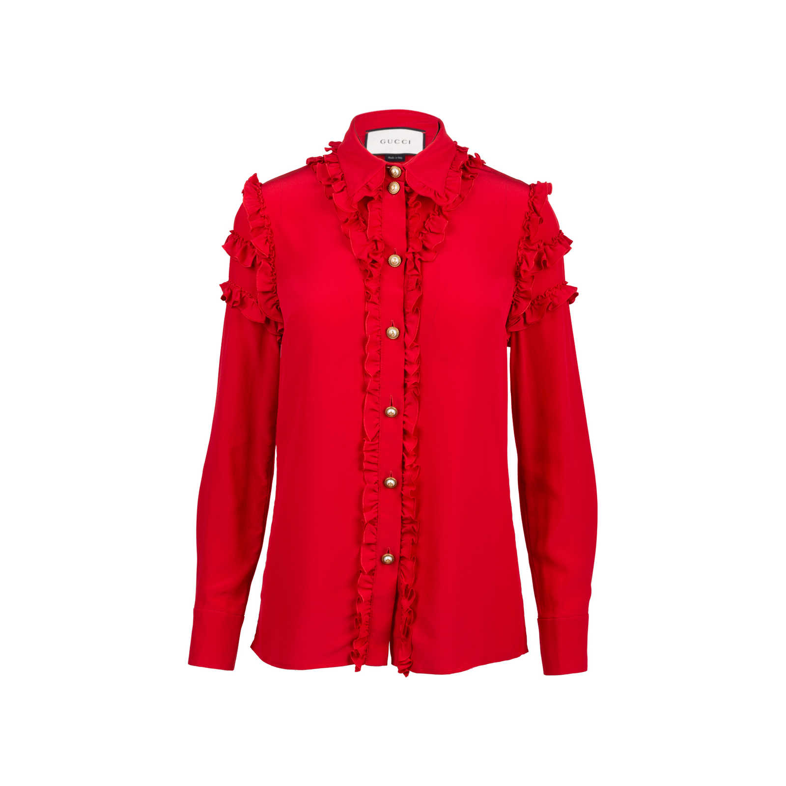 1dcebb88816 Authentic Second Hand Gucci Silk Ruffle Front Blouse (PSS-051-00442) ...