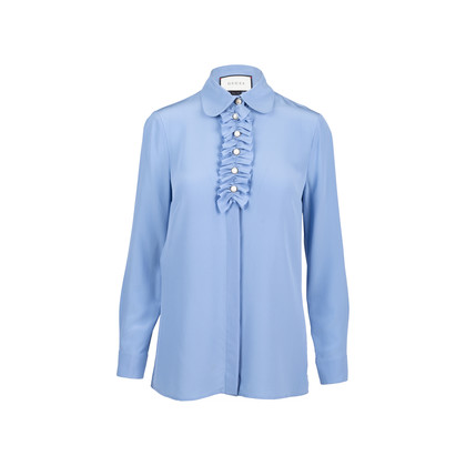 Authentic Second Hand Gucci Silk Ruffle Faux Pearl Blouse (PSS-051-00443)