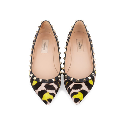 Authentic Pre Owned Valentino Leopard Print Rockstud Flats (PSS-159-00007)