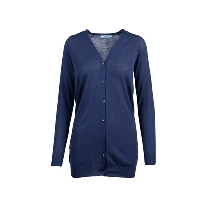 Authentic Pre Owned Prada Navy Wool Long Cardigan (PSS-051-00453)