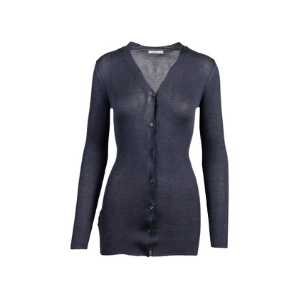 Authentic Second Hand Prada Grey Silk Ribbed Cardigan (PSS-051-00458)