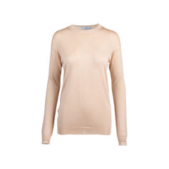 Nude Round Neck Wool Blend Sweater