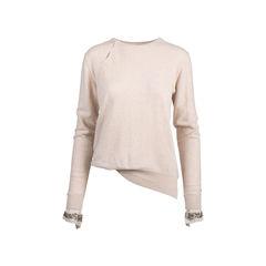 Beaded Cuff Cashmere Sweater
