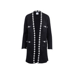 Houndstooth Knit Open Long Cardigan
