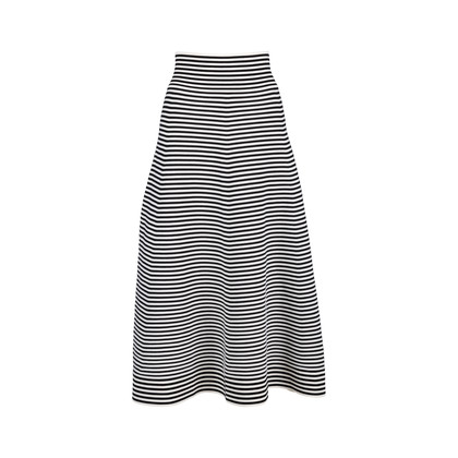Authentic Second Hand Sonia Rykiel Striped Midi Skirt (PSS-051-00462)