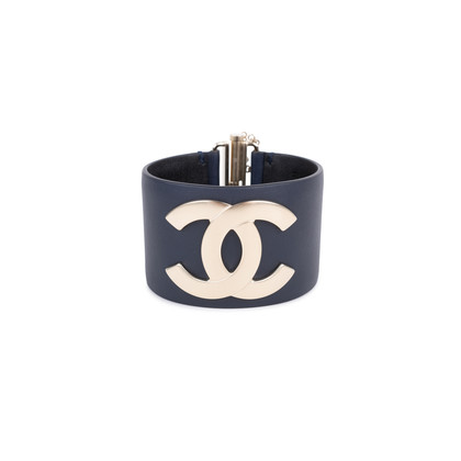 Authentic Pre Owned Chanel CC Leather Cuff Bracelet (PSS-595-00002)